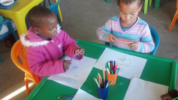 The children enjoying their new stationary